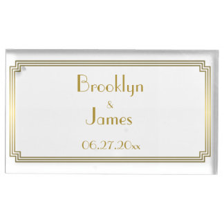 Great Gatsby Art Deco White Table Card Holder