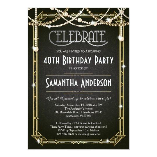great gatsby birthday invitation art deco invite zazzle com au