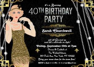 40th birthday invitations zazzle great gatsby flapper girl birthday invitation filmwisefo