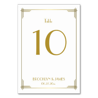 Great Gatsby Gold Art Deco Wedding Table Numbers Table Card