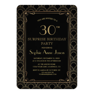 Great Gatsby Vintage Art Deco Birthday Party Card