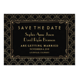 Great Gatsby Vintage Art Deco Save The Date Card