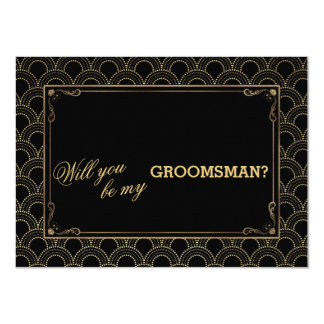 Great Gatsby Vintage Art Deco Wedding GROOMSMAN Card