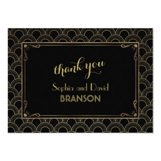 Great Gatsby Vintage Art Deco Wedding THANK YOU Card