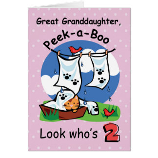 Great Granddaughter 2nd Birthday,Peek-a-Boo Kitten Greeting Card