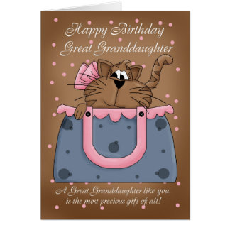 Great Granddaughter Birthday Card - Cute Cat Purse