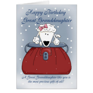 Great Granddaughter Birthday Card - Cute Puppy Pur