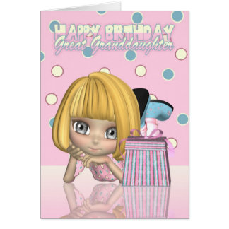 Great Granddaughter Birthday Card With Cute Little