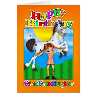 Great Granddaughter Birthday Card - With Cutie Pie