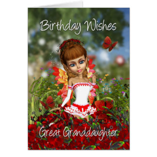 Great Granddaughter Birthday Card With Poppy Meado