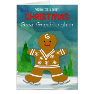 Great Granddaughter Christmas Gingerbread Man Card