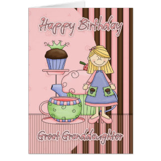 Great Granddaughter Cute Birthday Card - Cupcakes