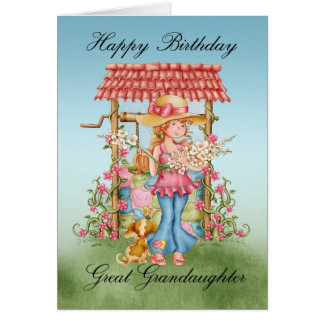 Great Granddaughter Cute Girl And Wishing Well Bir Card