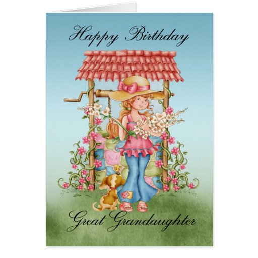 Great Granddaughter Cute Girl And Wishing Well Bir Card
