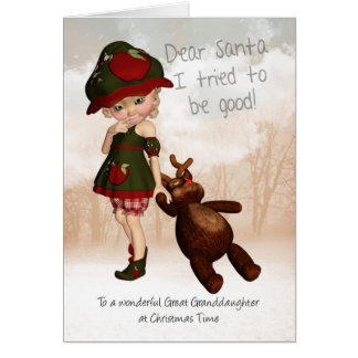 Great Granddaughter Dear Santa Retro Cute Christma Card