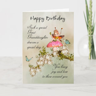 Great Granddaughter Fairy Birthday Card With Bloss