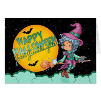 great granddaughter halloween card with cute witch