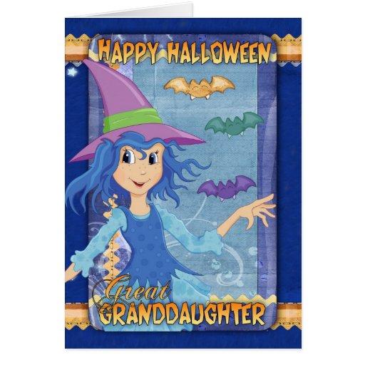 great granddaughter halloween greeting card