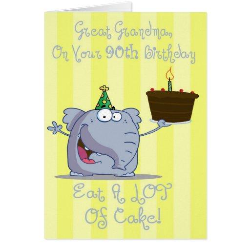 Great Grandma Eat More Cake 90th Birthday Card