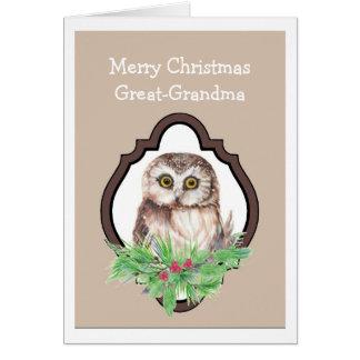 Great Grandma Merry Christmas Owl, Bird Humor Card