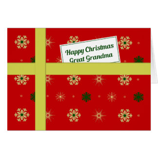 Great Grandma red Christmas parcel Card