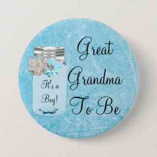 Great Grandma to be Blue Mason Jar Rustic Button