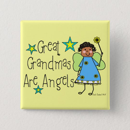 Great Grandmas Are Angels Gifts (Afro-American) 15 Cm Square Badge