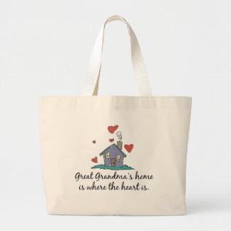 Great Grandma's Home is Where the Heart is Jumbo Tote Bag