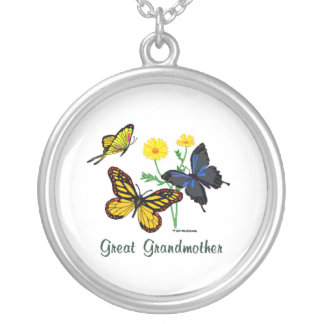 Great Grandmother Butterflies Round Pendant Necklace