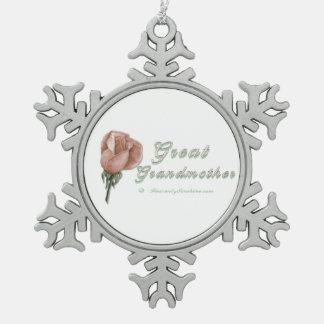 Great Grandmother Rose Pewter Snowflake Decoration
