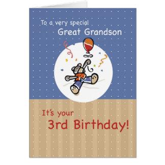 Great Grandson 3rd Teddy Bear Balloon Birthday Card