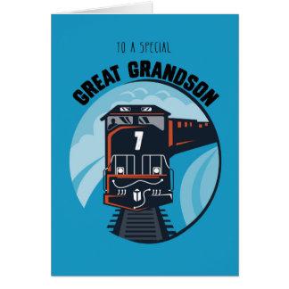 Great Grandson 7th Birthday Train, Little Boy, Blu Greeting Card