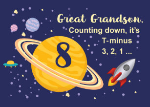 Great Grandson 8th Birthday Planets In Outer Space Card