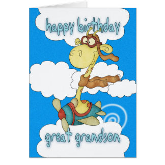 Great Grandson Aeroplane / Airplane Giraffe Birthd Card