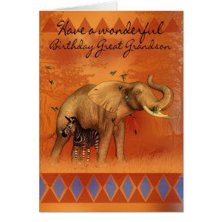 Great Grandson Birthday Card With Elephant Butterf