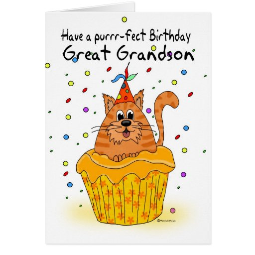 great grandson birthday card with ginger cupcake