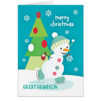 Great Grandson Christmas Snowman Ice Skating Card