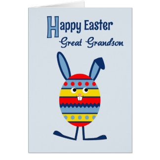 Great grandson Easter egg bunny blue Greeting Card