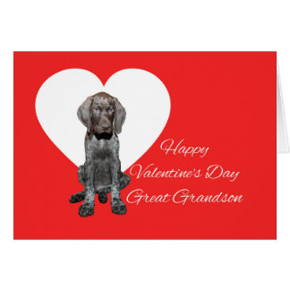 Great Grandson Glossy Grizzly Valentine Puppy Love Card