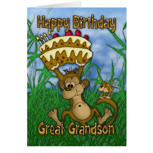 Great Grandson Happy Birthday with monkey holding Cards