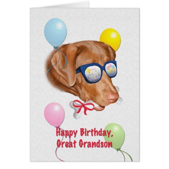 Great Grandson S Birthday Card With Labrador Dog Zazzle