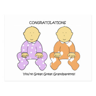 Great Great Grandparents to twins congratulations Postcard