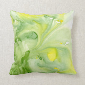 Great Greens Abstract Watercolor Throw Pillow