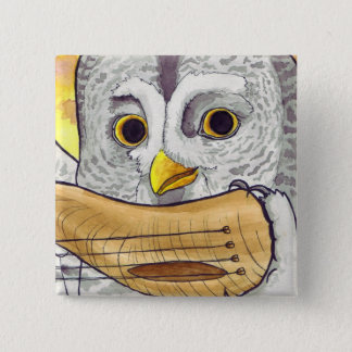 Great Grey Owl Hornlute Button