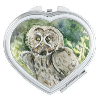 Great Grey Owl watercolor painting Compact Mirror