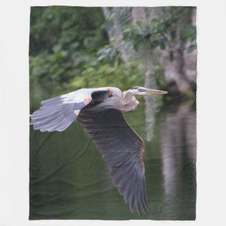 Great Heron in flight Fleece Blanket