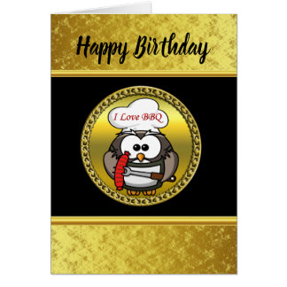 Great horn owl with BBQ in hand and a gold frame Card
