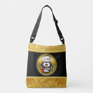 Great horn owl with BBQ in hand and a gold frame Crossbody Bag