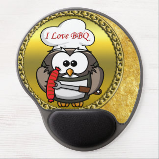 Great horn owl with BBQ in hand and a gold frame Gel Mouse Pad