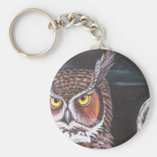 Great Horned & Barred Owls Basic Round Button Key Ring